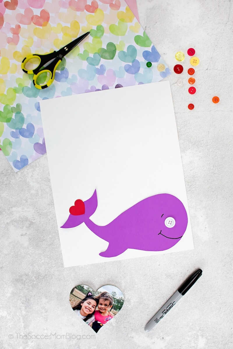 whale made out of purple cardstock
