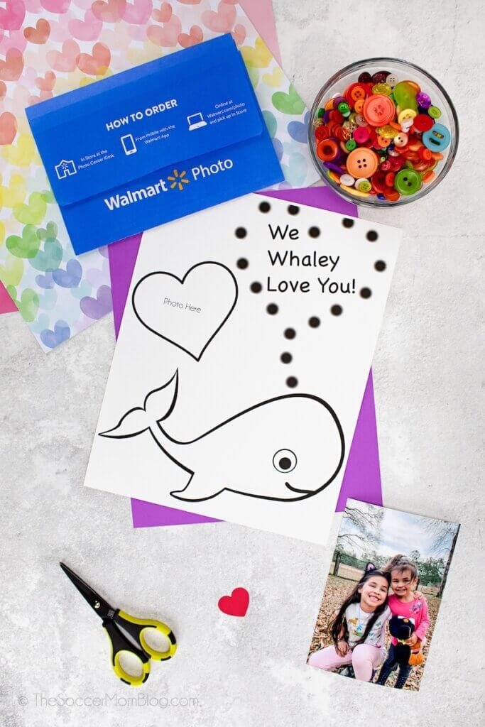 supplies needed to make a whale themed Valentine's Day card