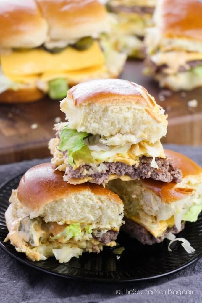 mini hamburger sliders inspired by McDonalds Big Mac