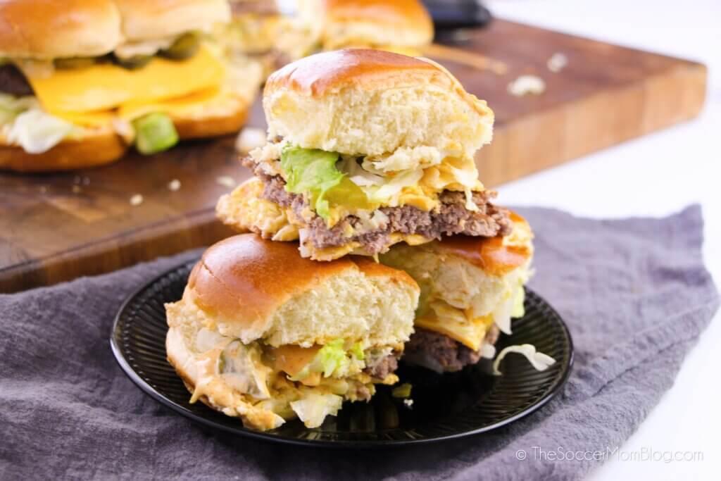 plate of hamburger sliders