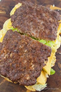 layering meat on hamburger sliders