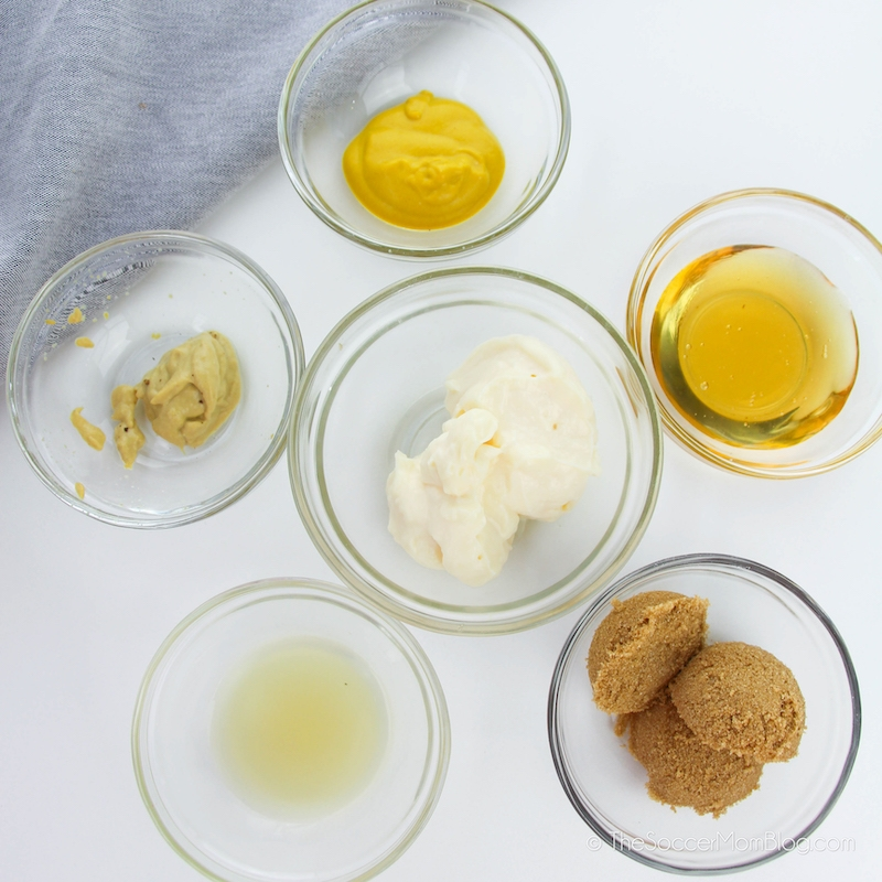 ingredients need to make honey mustard in small mixing bowls
