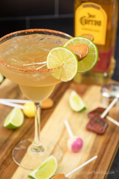 tamarind margarita with lime and Mexican candy