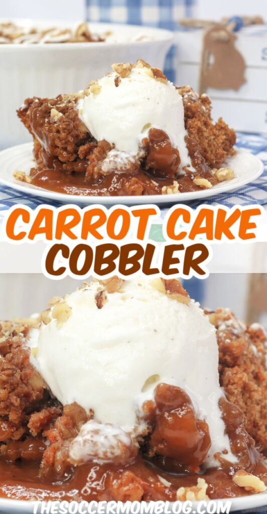 collage of photos showing gooey carrot cake cobbler