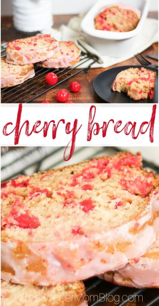 collage image of freshly baked homemade cherry bread