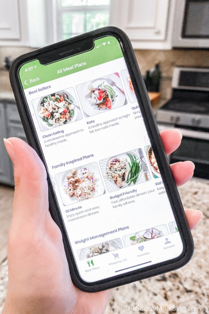 phone with eMeals meal planning app