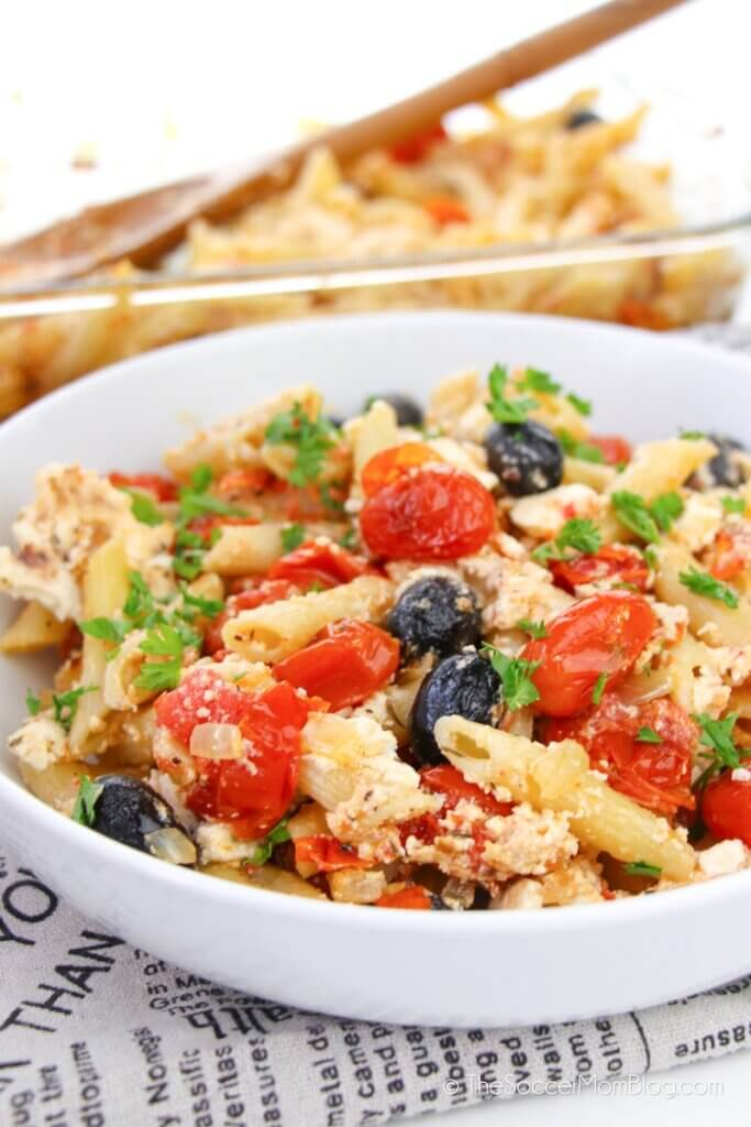 TikTok feta pasta with tomatoes and olives