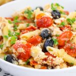 baked feta pasta with tomatoes, a viral TikTok recipe