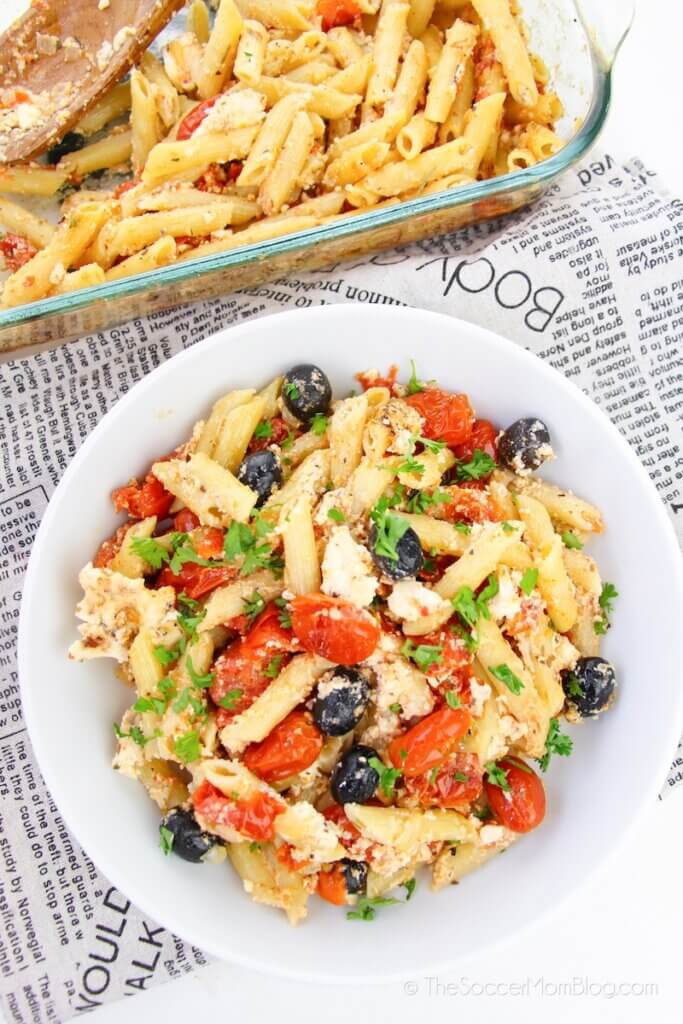 bowl of feta pasta made famous by TikTok