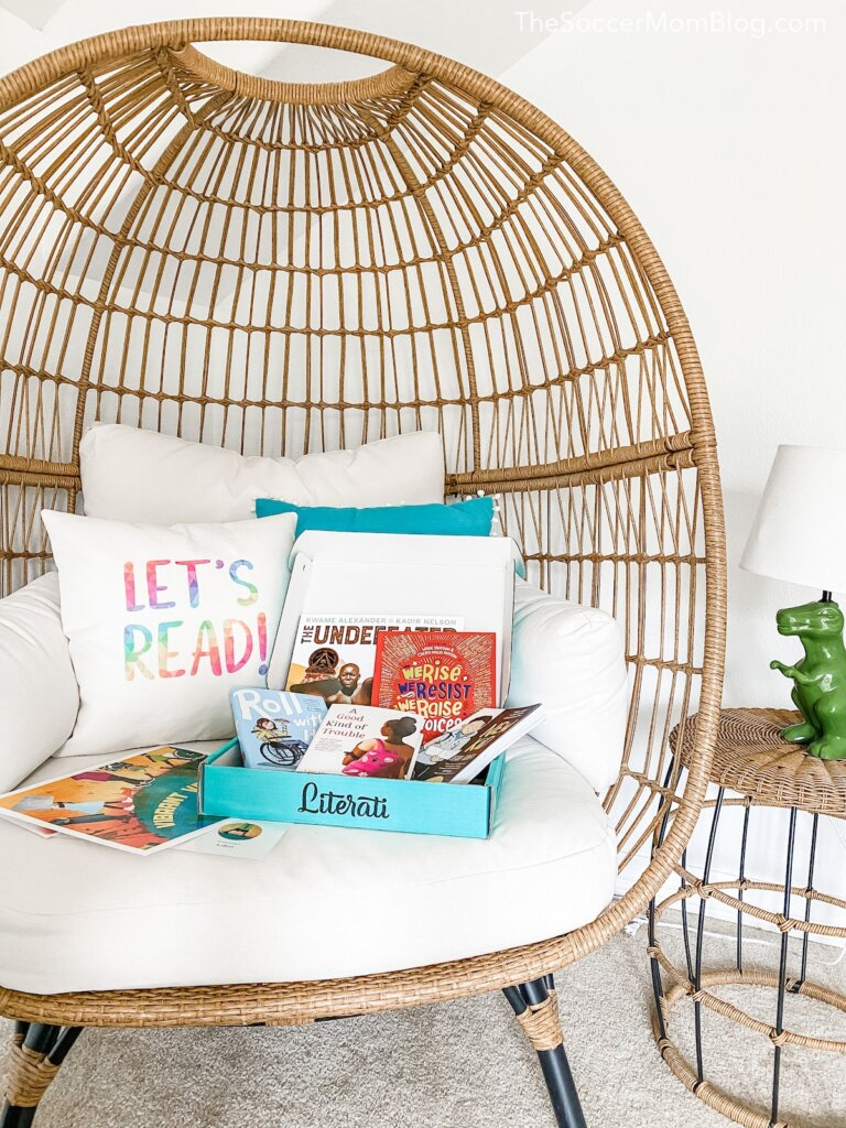 cozy reading nook with Literati book box
