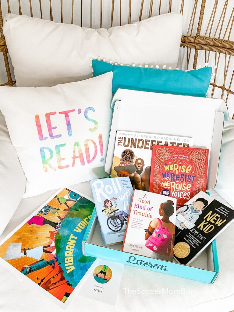 Literati book club box with diversity themed books for tweens