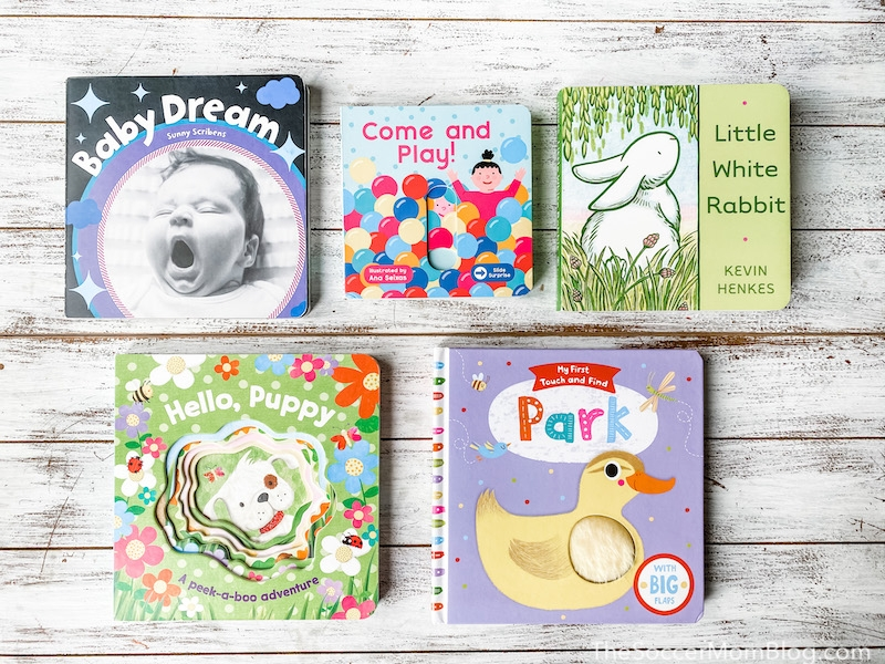 baby board books on wooden background