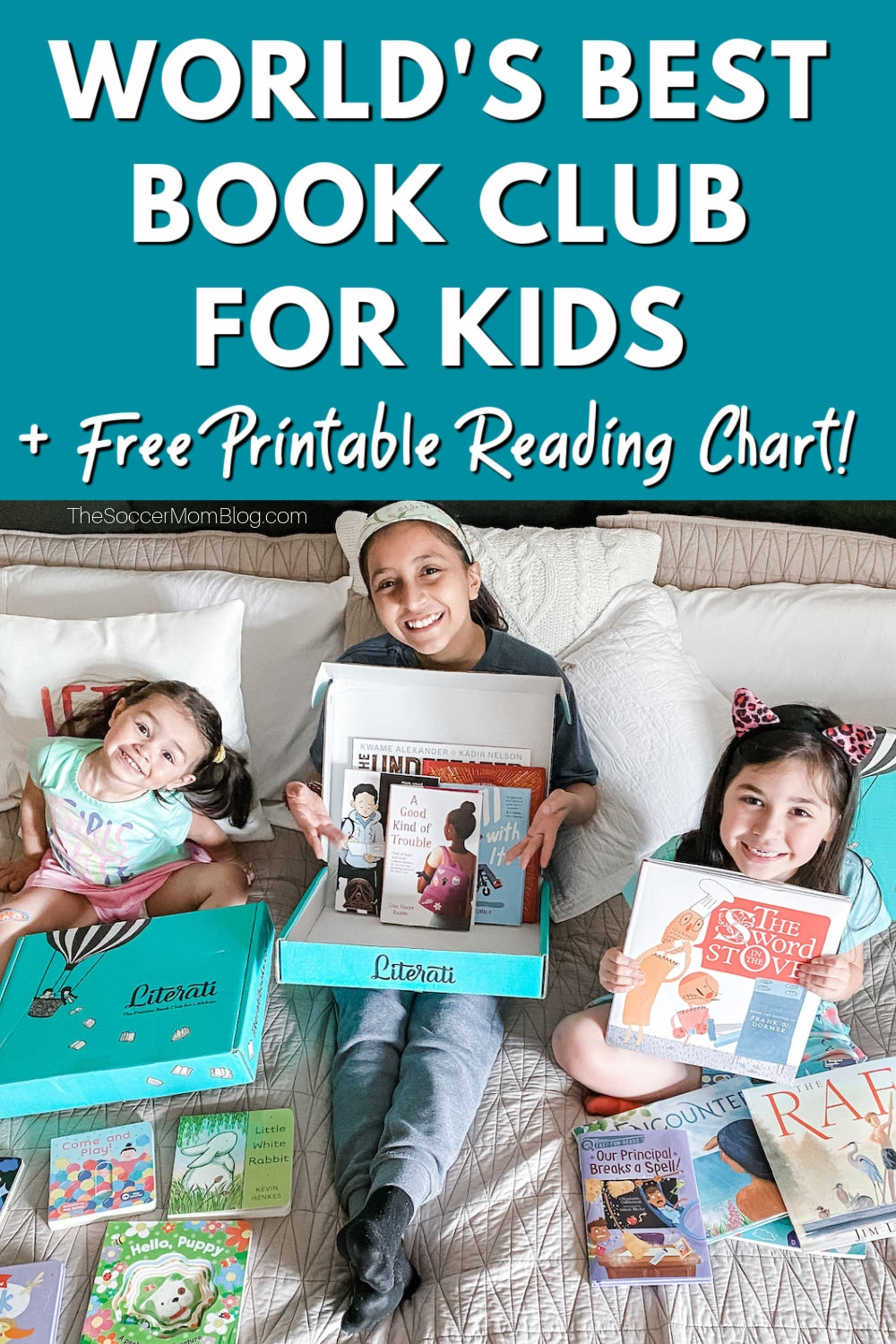 "little girls with book subscription boxes; tex overlay ""World's Best Book Club for Kids"""