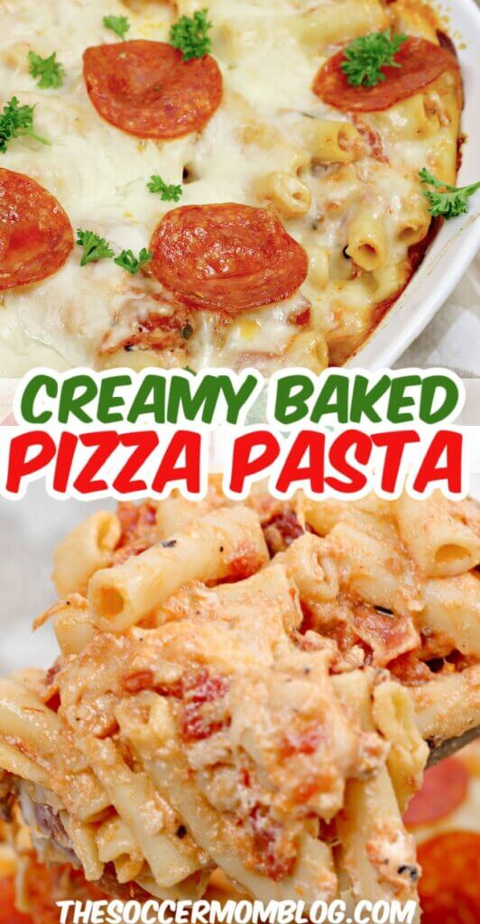 baked pizza pasta and creamy pasta bake on spoon