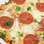 baked pizza pasta in casserole dish