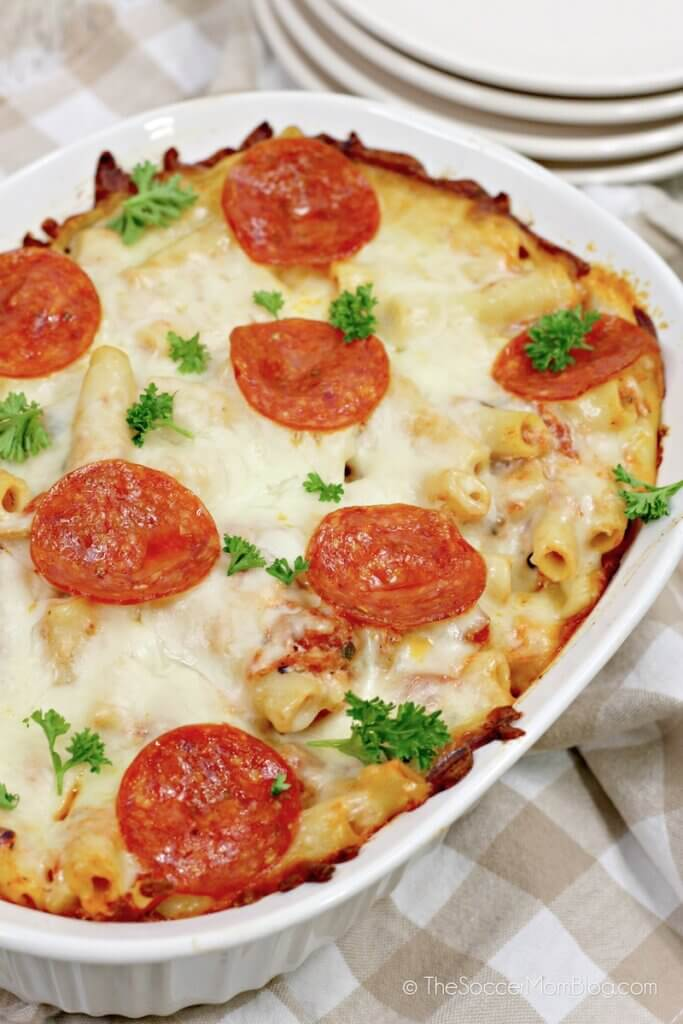 pizza pasta bake hot out of the oven