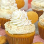 banana pudding cupcakes with nilla wafers and whipped cream