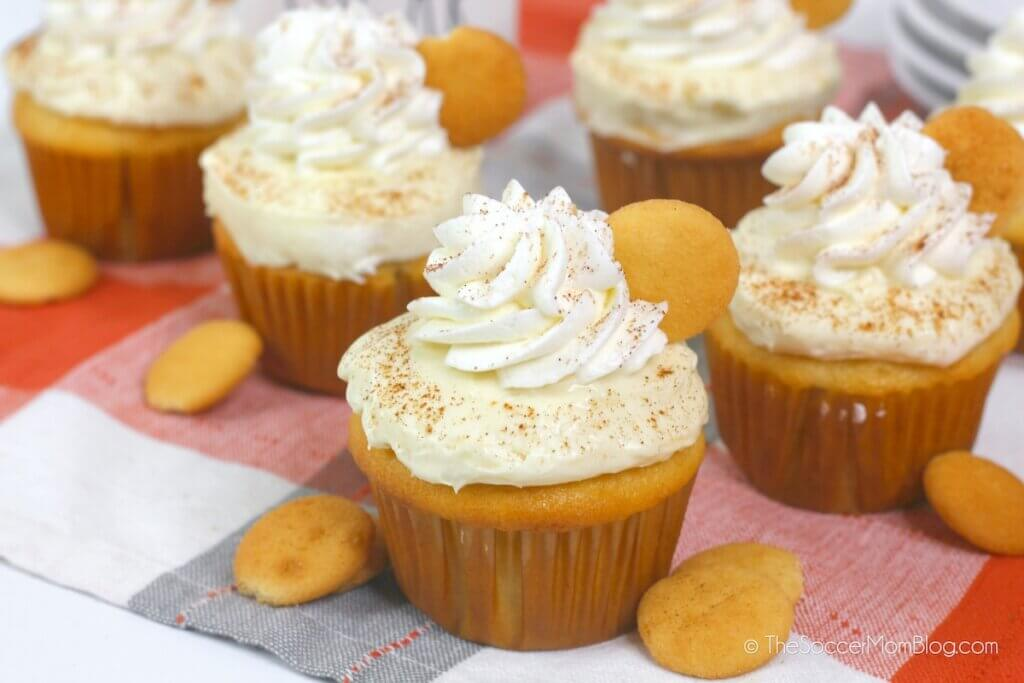 cupcakes topped with banana pudding and whipped cream