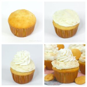 how to decorate a banana pudding cupcake - step by step collage