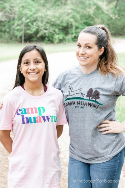 mom and daughter in Camp Huawni shirts