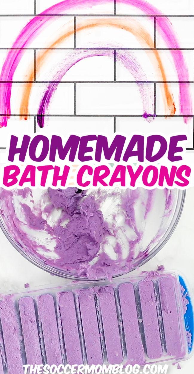 rainbow on tile wall and homemade bath crayons