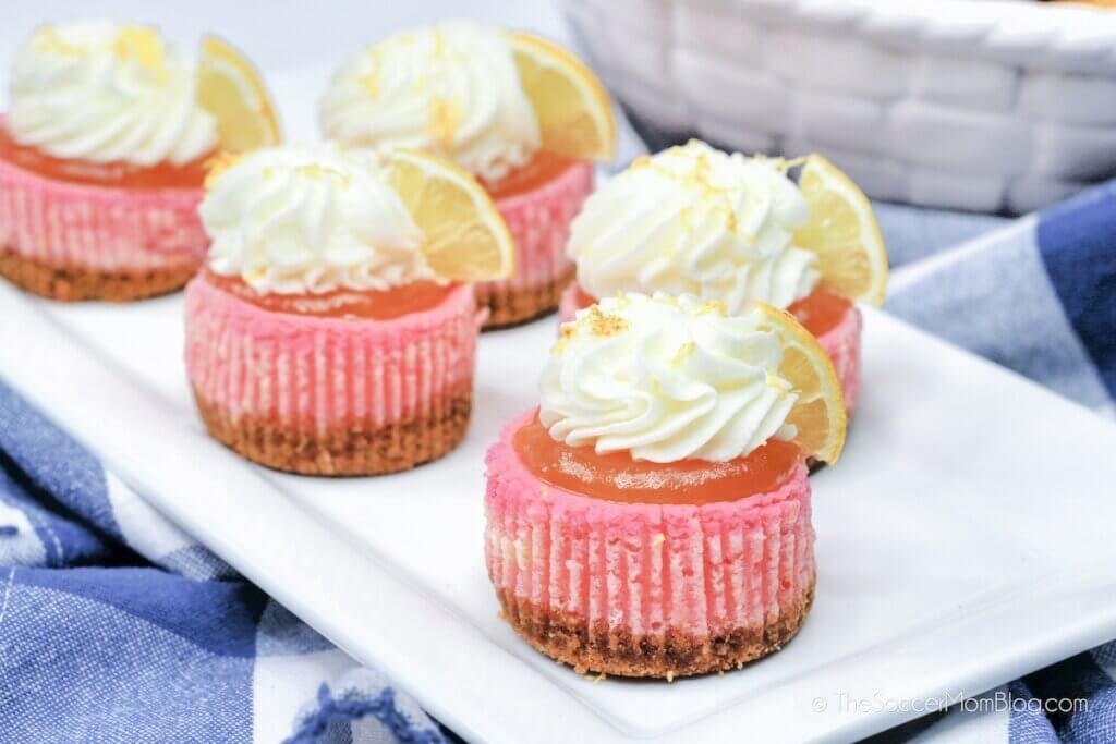 plate of pink lemonade mini cheesecakes