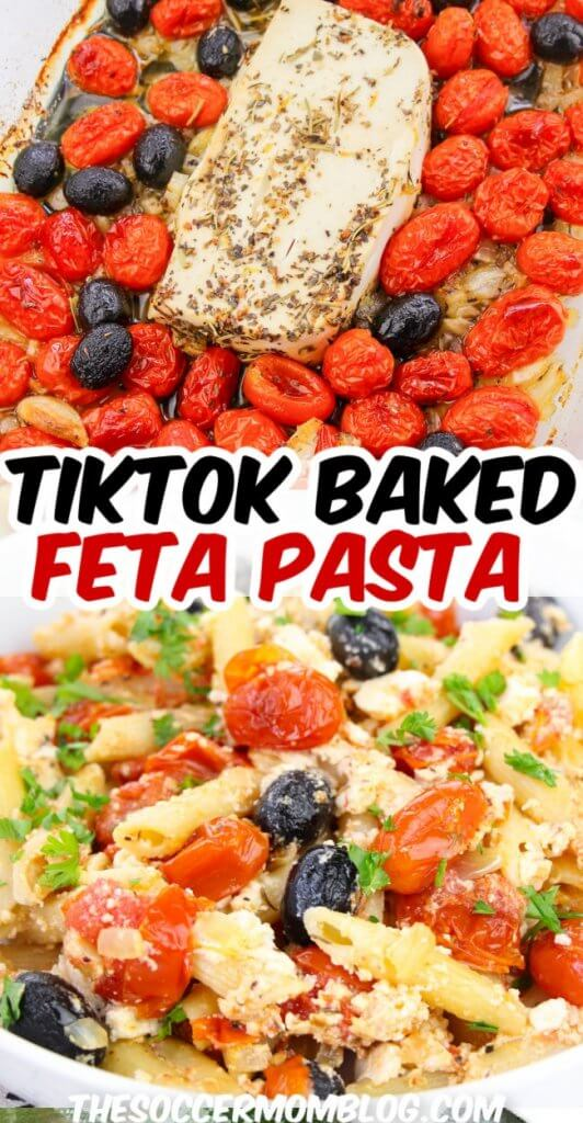 baked feta cheese and tomatoes to make viral TikTok pasta recipe