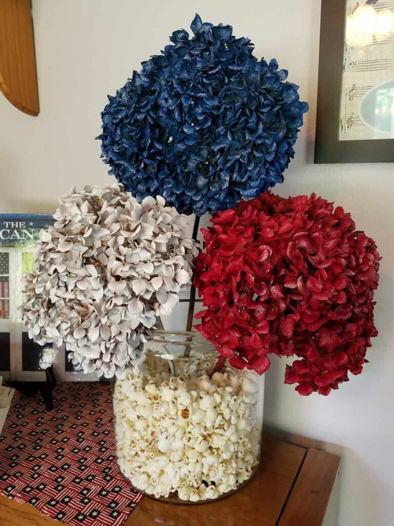 red white and blue dried flowers