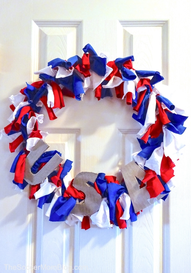 red white and blue wreath made with t-shirt scraps