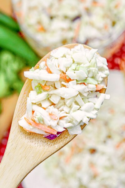 cole slaw on serving spoon