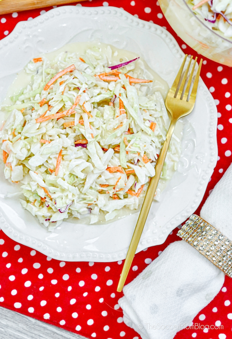 plate of homemade coleslaw