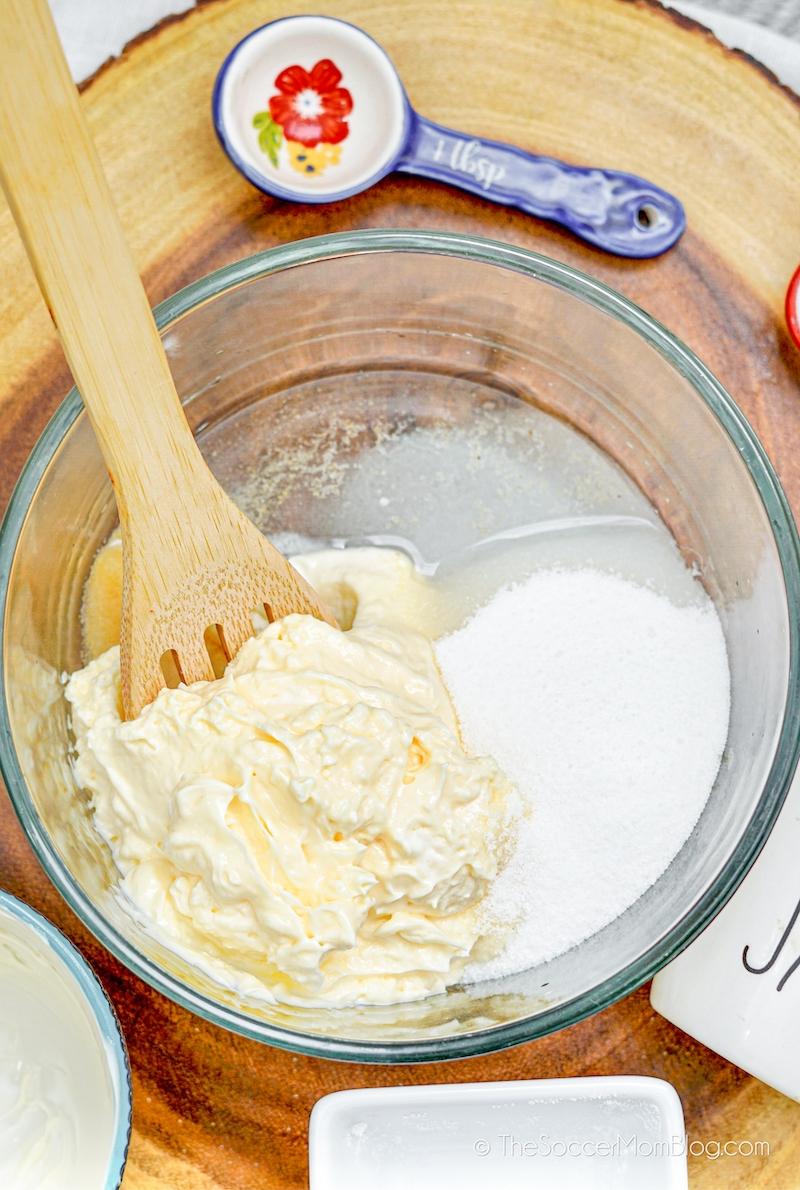 mayonnaise, sugar, and vinegar in mixing bowl