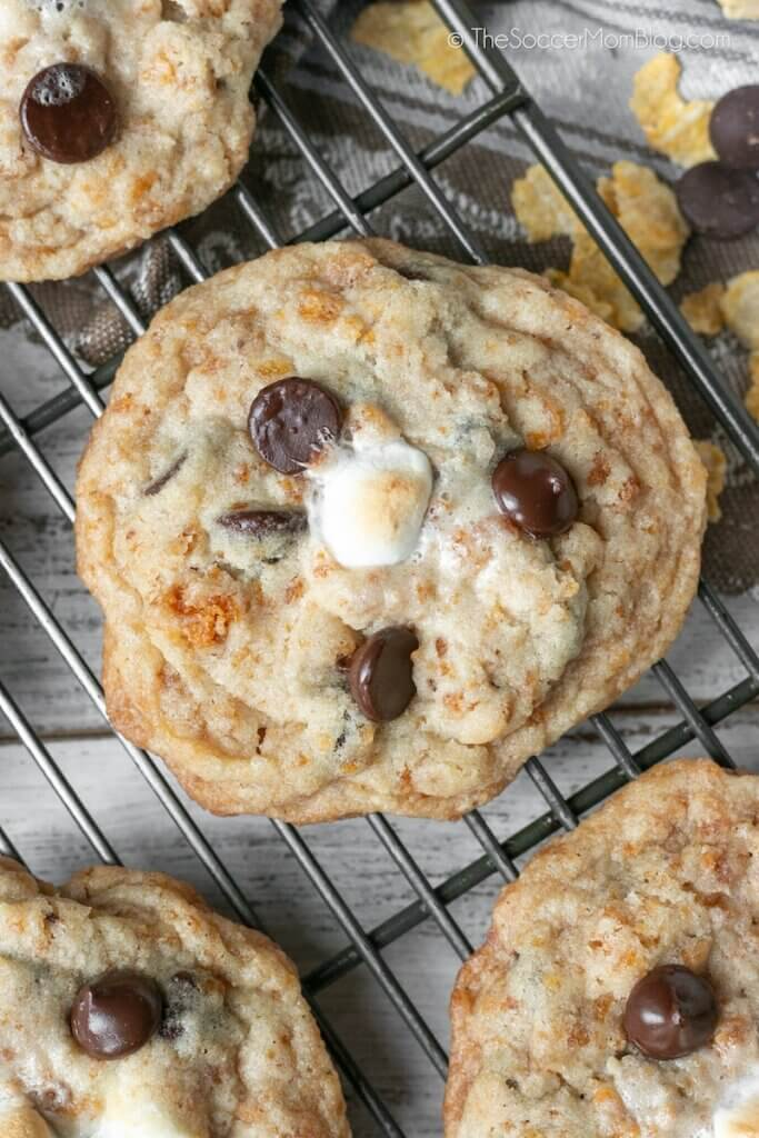 chocolate chip marshmallow cookies on wire rack