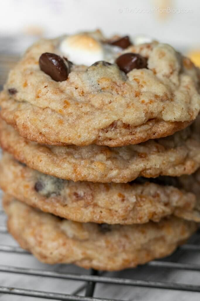 stack of chocolate chip cookies with marshmallows