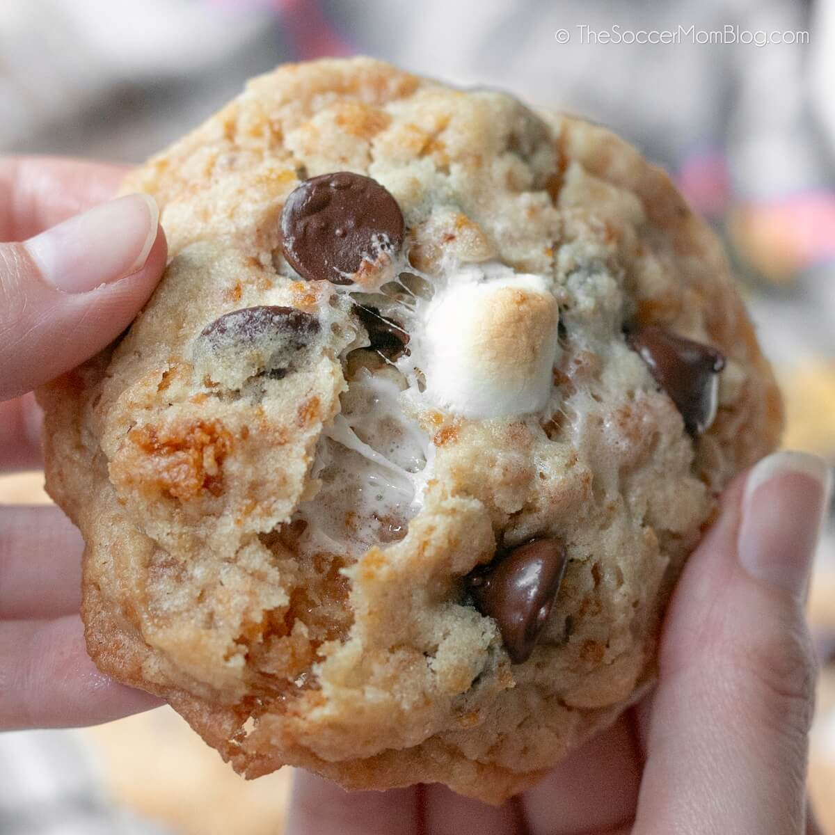 tearing cookie open with melted chocolate and marshmallow