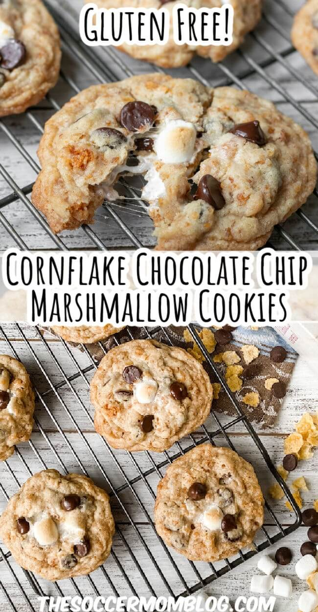 chocolate chip cookies made with corn flakes and marshmallows