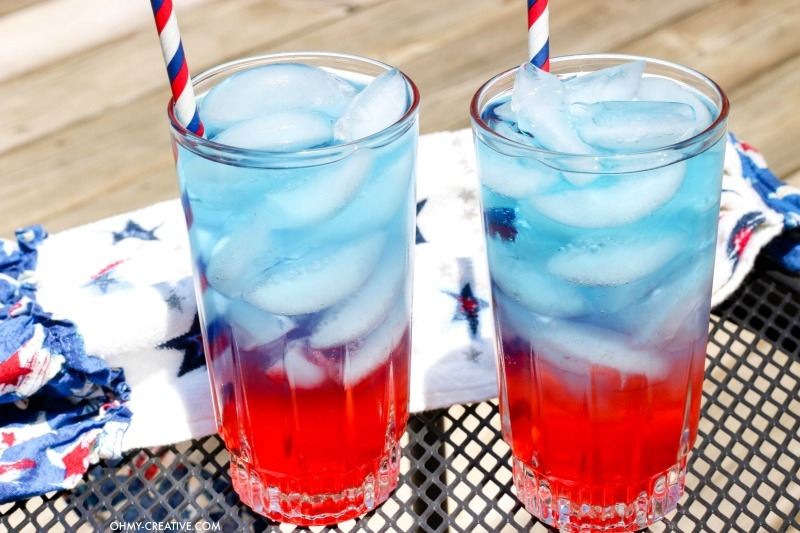 layered red white and blue drink for kids