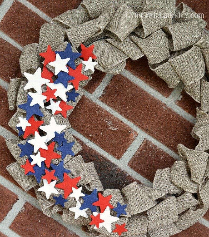 4th of July burlap wreath craft