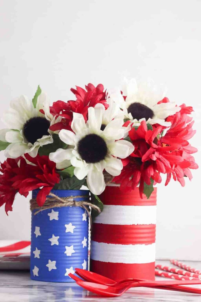 painted tin cans farmhouse 4th of July decor craft