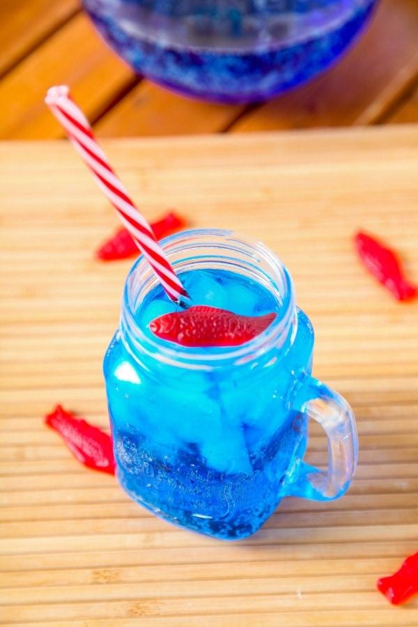 bright blue drink with Swedish fish
