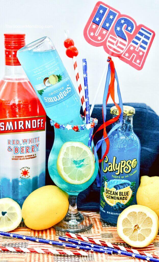 bright blue electric lemonade cocktail with patriotic decorations