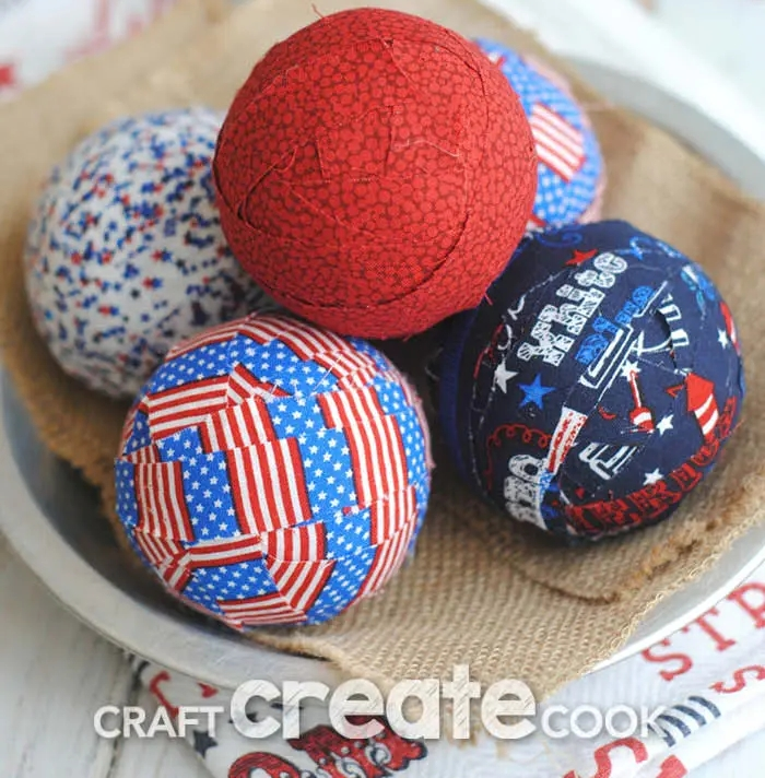 red white and blue fabric balls 4th of July centerpiece