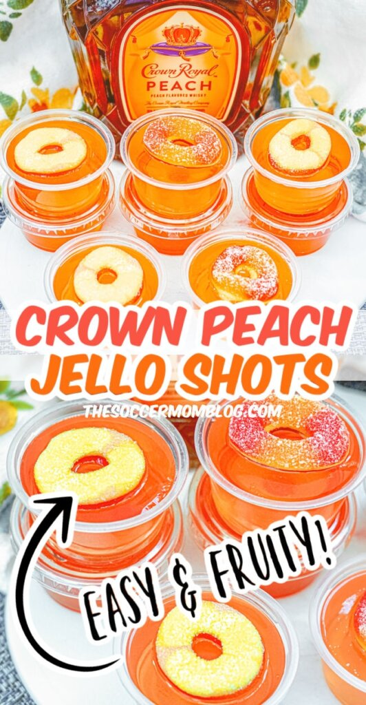 collage of photos of peach flavored jello shots