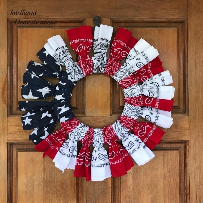 red white and blue bandana wreath