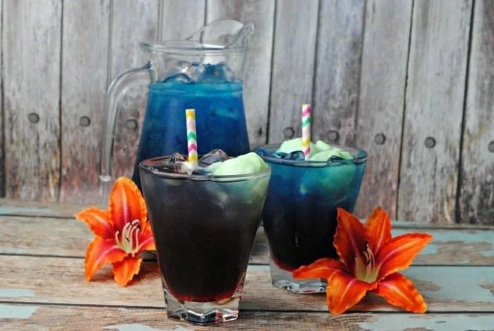 blue Hawaiian themed drink for kids