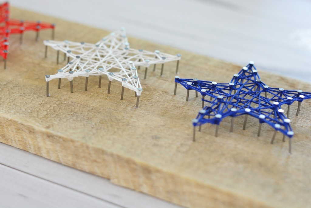 red white and blue star string art