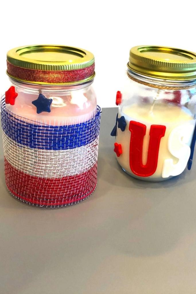 4th of July mason jar candle crafts