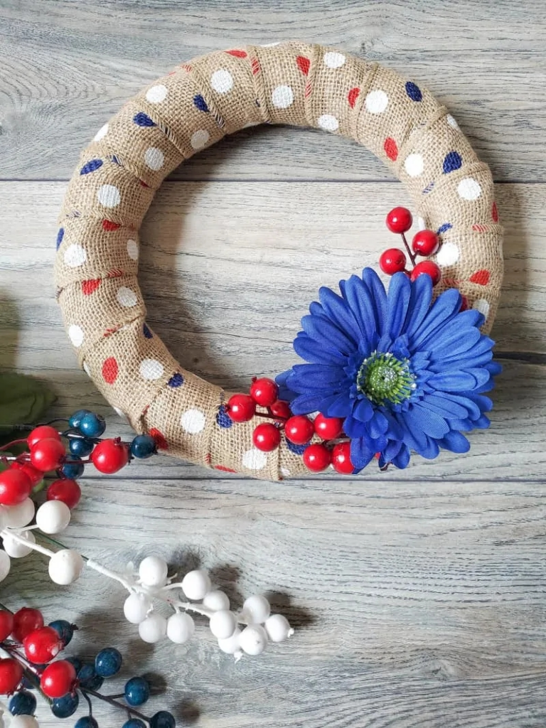 red white and blue polka dot burlap wreath
