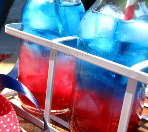 red white and blue 4th of July mocktails