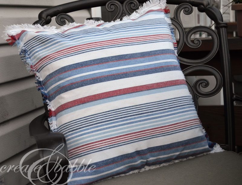 homemade red white and blue striped pillows